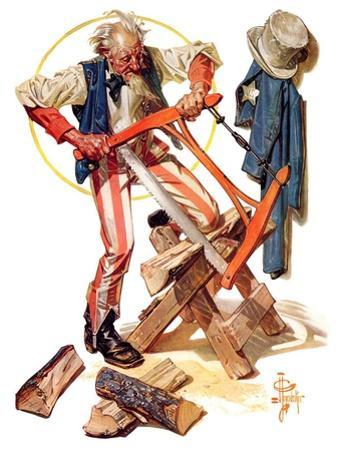 """""""Uncle Sam Sawing Wood,""""July 2, 1932"""