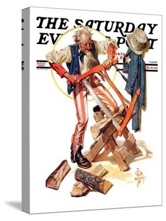 """Uncle Sam Sawing Wood,"" Saturday Evening Post Cover, July 2, 1932"