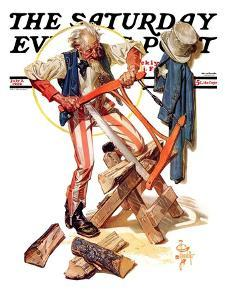 """Uncle Sam Sawing Wood,"" Saturday Evening Post Cover, July 2, 1932 by Joseph Christian Leyendecker"