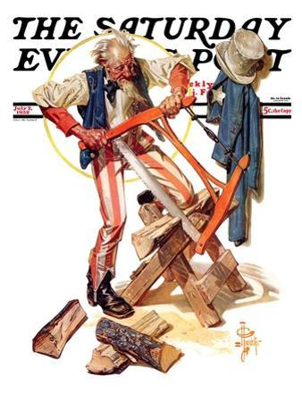 """""""Uncle Sam Sawing Wood,"""" Saturday Evening Post Cover, July 2, 1932"""