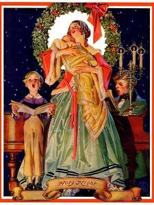 """Victorian Family at Christmas,""December 29, 1934 by Joseph Christian Leyendecker"