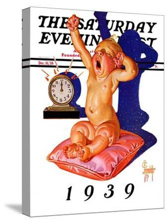 """""""Waking to the New Year,"""" Saturday Evening Post Cover, December 31, 1938"""