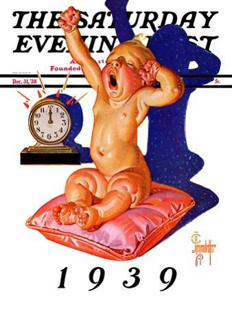 """Waking to the New Year,"" Saturday Evening Post Cover, December 31, 1938"