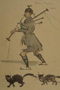 Highlander Playing Bagpipes, 1900 by Joseph Crawhall