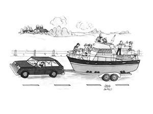 A boat filled with people drinking & laughing is being towed through the c? - New Yorker Cartoon by Joseph Farris