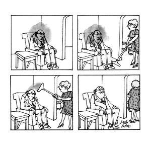 A man is sitting in a chair with a dark cloud over and around his head; hi? - New Yorker Cartoon by Joseph Farris