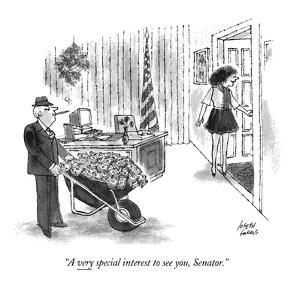 """A very special interest to see you, Senator."" - New Yorker Cartoon by Joseph Farris"