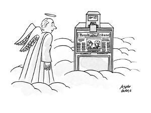 An angel is looking astonished at an International Herald Tribune machine ? - New Yorker Cartoon by Joseph Farris