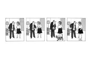 Arguing husband and wife stop yelling while their cat walks by. - New Yorker Cartoon by Joseph Farris
