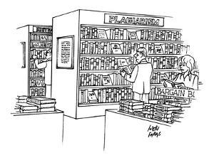 "Bookstore with ""plagiarism"" section. - New Yorker Cartoon by Joseph Farris"