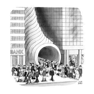Business people coming out of Cornucopia between two buildings. - New Yorker Cartoon by Joseph Farris