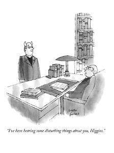 """I've been hearing some disturbing things about you, Higgins,"" - New Yorker Cartoon by Joseph Farris"