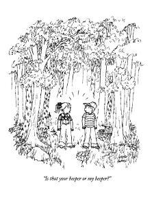 """Is that your beeper or my beeper?"" - New Yorker Cartoon by Joseph Farris"