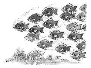 Leader of a school of fish is labelled CEO. - New Yorker Cartoon by Joseph Farris