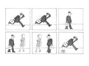 Man running to work because he is late takes time to stop and look at a wo? - New Yorker Cartoon by Joseph Farris