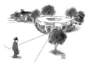 Military official comes home to Pentagon-shaped house. - New Yorker Cartoon by Joseph Farris