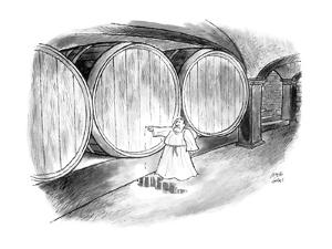 Monk in wine cellar plugging hole with his finger. - New Yorker Cartoon by Joseph Farris