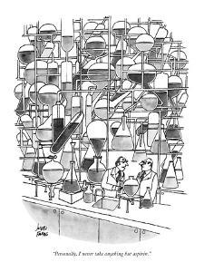 """Personally, I never take anything but aspirin."" - New Yorker Cartoon by Joseph Farris"