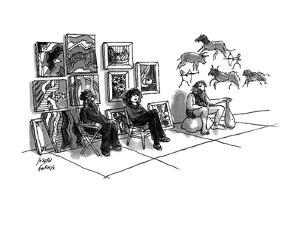 Street painters with cave painter. - New Yorker Cartoon by Joseph Farris