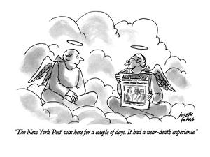 """The New York 'Post' was here for a couple of days. It had a near-death ex?"" - New Yorker Cartoon by Joseph Farris"