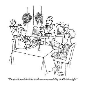 """The specials marked with asterisks are recommended by the Christian right?"" - New Yorker Cartoon by Joseph Farris"