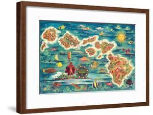 Dole Map of the Hawaiian Islands c.1950 by Joseph Feh?r