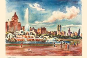 Chicago Skyline - Buckingham Fountain - United Air Lines Calendar Page by Joseph Fehér