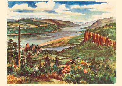 Columbia River Gorge, Pacific Northwest - United Air Lines Calendar Page by Joseph Fehér