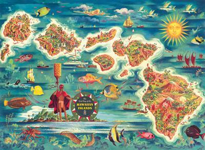 Dole Map of the Hawaiian Islands c.1950 by Joseph Fehér