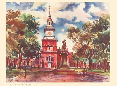 Independence Hall, Philadelphia - United Air Lines Calendar Page by Joseph Fehér