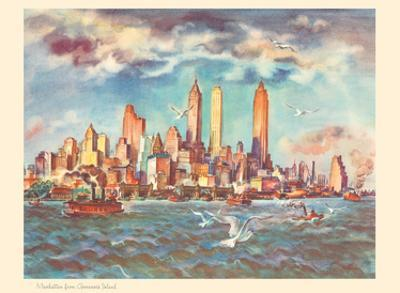 Manhattan from Governor's Island - New York - United Airlines Calendar Page by Joseph Fehér