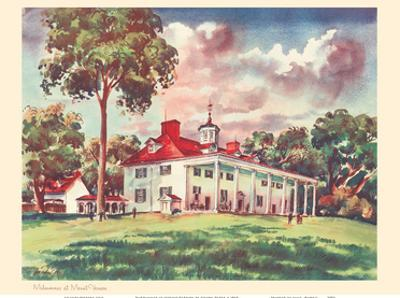 Midsummer at Mount Vernon - President George Washington's Home - United Air Lines Calendar Page by Joseph Fehér