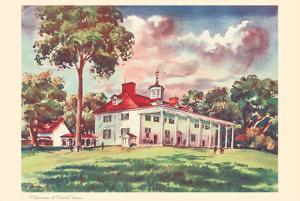 Midsummer at Mount Vernon - President George Washington's Home - United Air Lines Calendar Page by Joseph Fehér