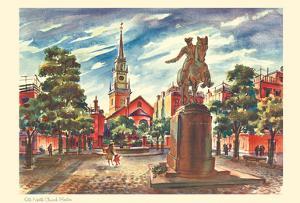 Old North Church - Boston, Massachusetts - United Airlines Calendar Page by Joseph Fehér