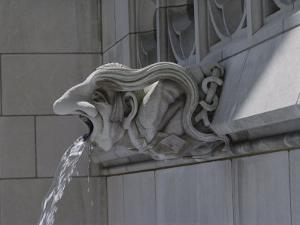 A Neo-Gothic Limestone Gargoyle Spewing Water from its Mouth by Joseph H^ Bailey
