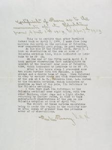 Paper by Robert E. Peary Stating That He Had Attained the Area of the North Pole by Joseph H^ Bailey
