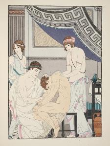 Chiropractic Adjustment, Illustration from 'The Works of Hippocrates', 1934 (Colour Litho) by Joseph Kuhn-Regnier