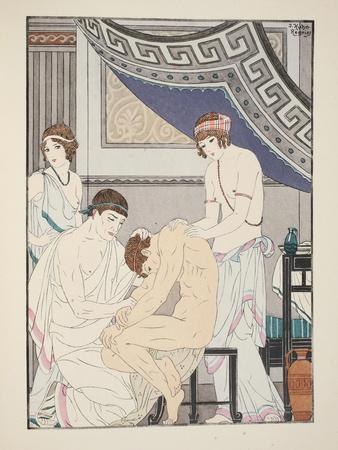 Chiropractic Adjustment, Illustration from 'The Works of Hippocrates', 1934 (Colour Litho)