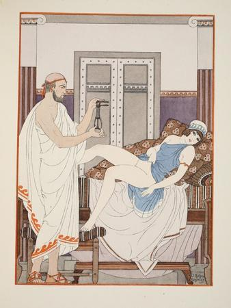 Gynaecological Examination, Illustration from 'The Works of Hippocrates', 1934 (Colour Litho)