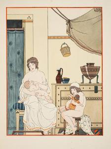 Nursing of Infants, Illustration from 'The Works of Hippocrates', 1934 (Colour Litho) by Joseph Kuhn-Regnier