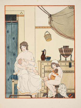 Nursing of Infants, Illustration from 'The Works of Hippocrates', 1934 (Colour Litho)