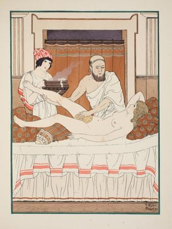 Sponge Bath, Illustration from 'The Works of Hippocrates', 1934 (Colour Litho)