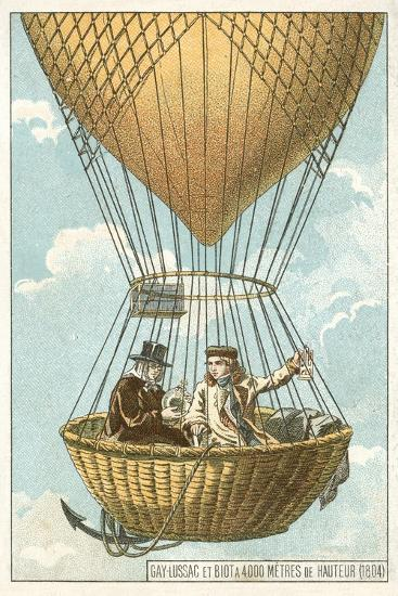 Joseph Louis Gay-Lussac and Jean-Baptiste Biot in a Balloon at an Altitude of 4000 Metres, 1804--Giclee Print