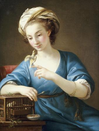 A Young Woman in Turkish Costume Seated Playing with a Cage-Bird, 1766