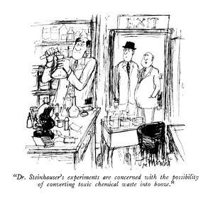 """""""Dr. Steinhauser's experiments are concerned with the possibility of conve?"""" - New Yorker Cartoon by Joseph Mirachi"""