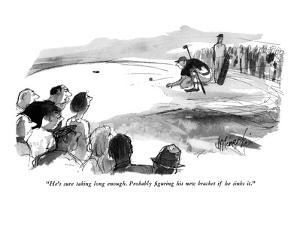 """""""He's sure taking long enough. Probably figuring his new bracket if he sin?"""" - New Yorker Cartoon by Joseph Mirachi"""