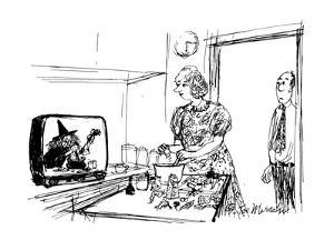 Man sees wife preparing food from witche's cooking show. - New Yorker Cartoon by Joseph Mirachi
