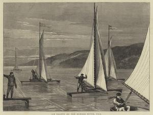Ice Yachts on the Hudson River, USA by Joseph Nash