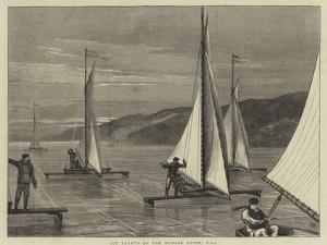 Ice Yachts on the Hudson River, USA by Joseph Nash