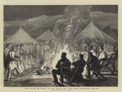 The Prince of Wales in the Terai, the Camp Fire, Thibetans Dancing by Joseph Nash